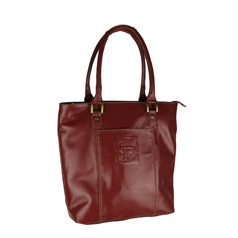 Garnet Red Genuine Leather Florida State FSU Embossed Tote Bag - 14.75 X 12.75 X 5 inches