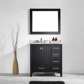 """Miseno MV723036 36"""" Free Standing Single Vanity Set with Wood Cabinet, Marble Vanity Top, Ceramic Undermount Sink and Finish"""