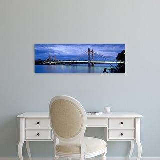Easy Art Prints Panoramic Image 'Suspension bridge, Thames River, Albert Bridge, London, England' Canvas Art