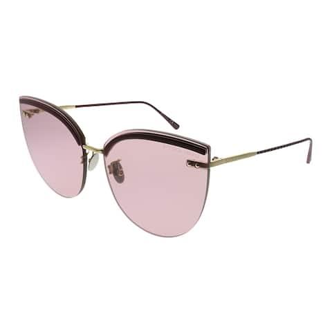 Bottega Veneta Fashion Inspired BV 0205S 004 Womens Burgundy Frame Pink Lens Sunglasses