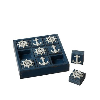 """Set of 2 White and Blue Anchor & Ship Wheel Square Tic-Tac-Toe 9"""""""