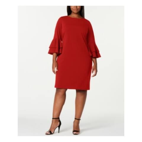 CALVIN KLEIN Red Bell Sleeve Knee Length Sheath Dress Size 16W
