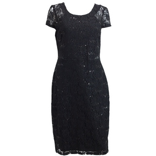 Black Dress in Lace with Sequins