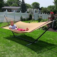 Sunnydaze Soft-Spun 2-Person Caribbean Spreader Bar Hammock with Stand - Tan
