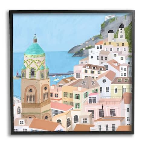 Stupell Industries Amalfi Traditional Italian Architecture Coastal Cliffside Cityscape Framed Wall Art - Multi-Color