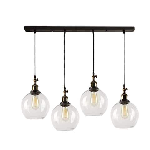 4 light industrial globe glass island chandelier Brass and Bronze pendant lighting