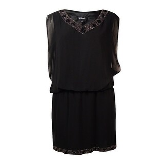 S.L. Fashions Women's Beaded Chiffon V-Neck Blouson Dress