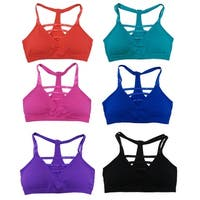 Women 6 Pack Solid Color Multi Straps Caged Sports Yoga Bras