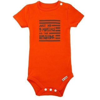 "Bee Funny Baby Girls Orange ""Just Did 9 Months On The Inside"" Bodysuit"