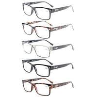 Eyekepper 5-Pack Readers Stylish Spring Hinges Reading Glasses+1.5