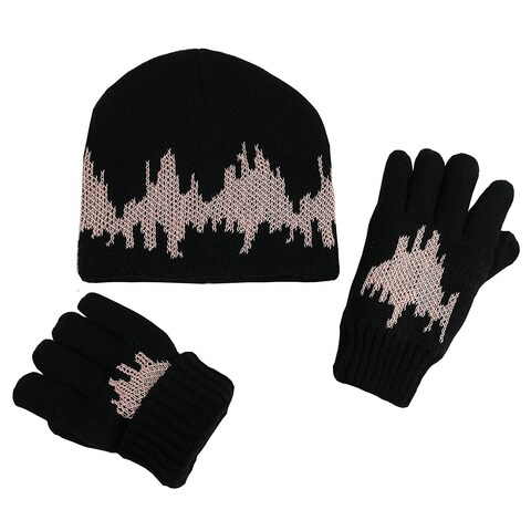 NICE CAPS Big Kids 7-10 Years Glow in the Dark Knitted Hat and Glove Set - 7-10yrs
