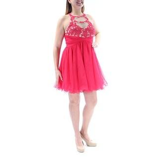 BLONDIE $199 Womens New 2722 Red Beaded Mesh Fit + Flare Dress 13 Juniors B+B