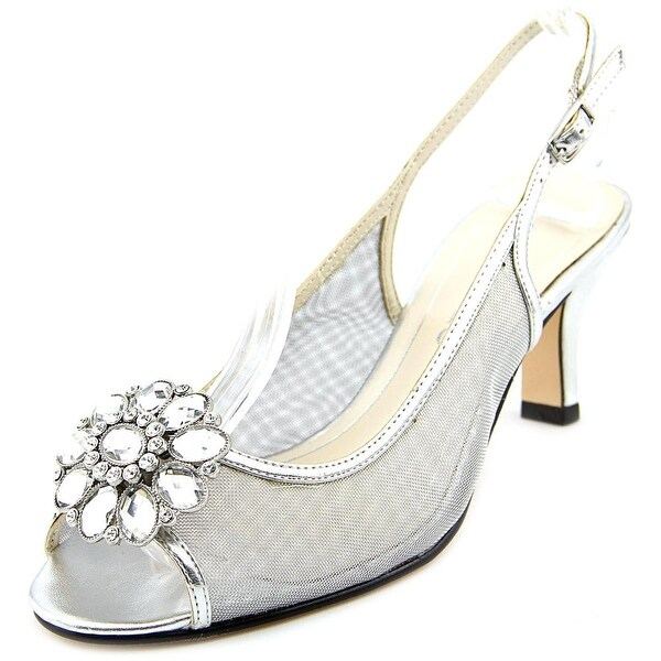 Caparros Savanna Women Peep-Toe Synthetic Silver Slingback Heel