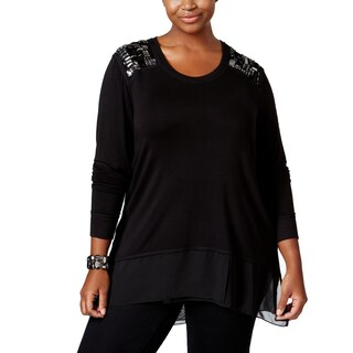 Seven7 Womens Plus Pullover Top Embellished V-Neck - 2x