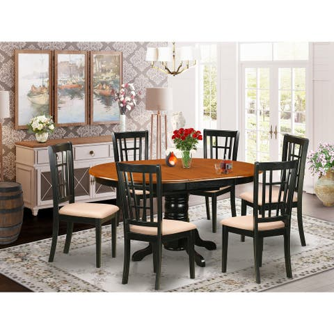 7 PC Dining room set-Dining Table and 6 Wooden Kitchen Chairs - Black and Cherry Finish (Finish Option)