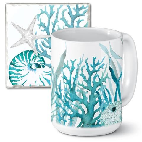 Counterart 15 Oz Ceramic Mug & Absorbent Stone Coaster Gift Set - Coral Life - 9x6x4.003