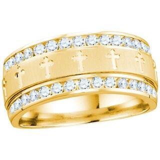 14k Yellow Gold Mens Natural Round Diamond Grecco Christian Cross Wedding Anniversary Band Ring 1.00 Ctw - White