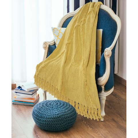 Bohemian Basics Decorative Diamond Tufted Cotton Throw Blanket