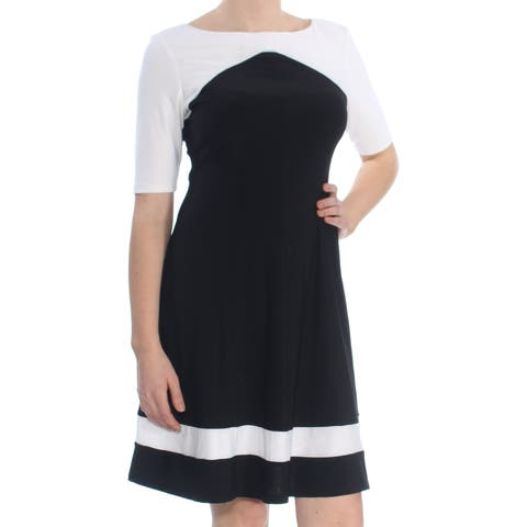 30a4f33416f AMERICAN LIVING Womens Black Color Block 3 4 Sleeve Boat Neck Above The  Knee Fit