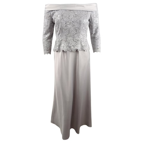 Alex Evenings Women's Off-The-Shoulder Lace-Bodice Gown (14, Summer Silver) - Summmer Silver - 14
