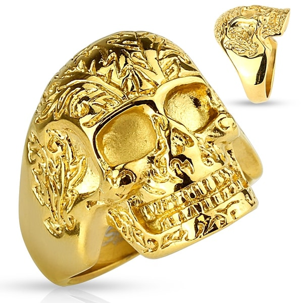 Gold IP Floral Pattern Skull Stainless Steel Ring (Sold Ind.)