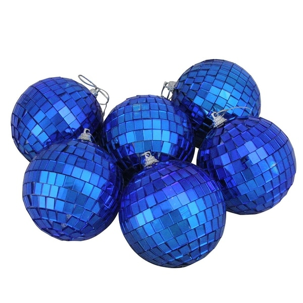 "6ct Cerulean Blue Mirrored Glass Disco Ball Christmas Ornaments 3.25"" (80mm)"