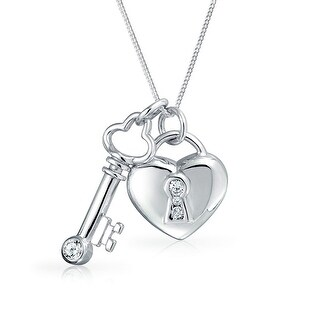 Bling Jewelry Clear CZ Lock And Key Heart Pendant Sterling Silver Necklace 16 Inches
