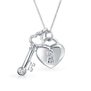 Love Lock And Key Heart CZ Accent Charm Pendant Necklace For Women For Girlfriend 925 Sterling Silver