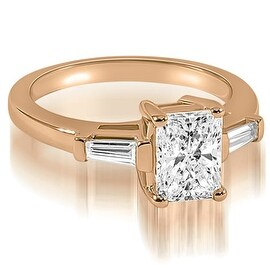 0.75 cttw. 14K Rose Gold Emerald Baguette Three Stone Diamond Engagement Ring (More options available)