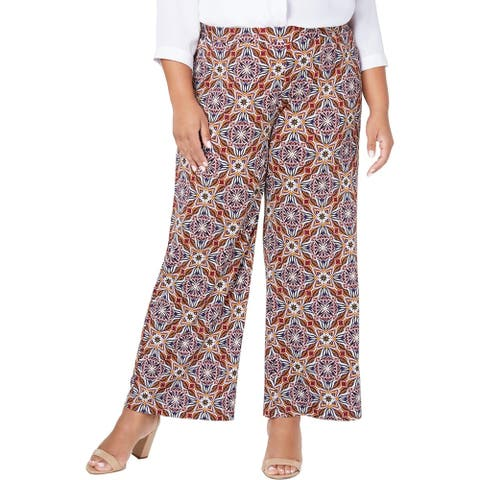 NY Collection Womens Plus Gaucho Pants Printed Stretch - Gold