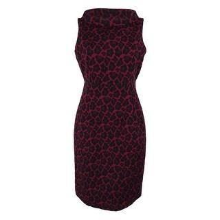 Anne Klein Women's Animal Print Sheath Dress - cordoba red combo - 14