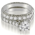 1.50 cttw. 14K White Gold Vintage Cathedral Round Cut Diamond Bridal Set - Thumbnail 0