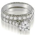 1.75 cttw. 14K White Gold Vintage Cathedral Round Cut Diamond Bridal Set - Thumbnail 0