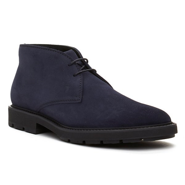 Tod's Men's Suede Chukka Desert Boots Shoes Navy Blue