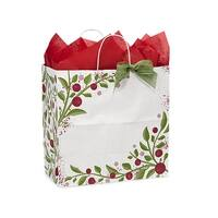 "Pack of 25, Floral Filly Tuscan Christmas Paper Bags 13 X 7 X 13"" 100% Recyclable, Made In Usa"