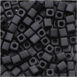 Miyuki 4mm Glass Cube Beads Matte Opaque Black 4011 10 Grams
