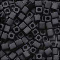 Miyuki 4mm Glass Cube Beads Matte Opaque Black 4011 10 Grams