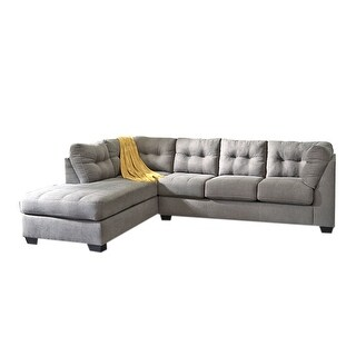 Offex Benchcraft Maier Sectional with Left Side Facing Chaise in Charcoal Microfiber