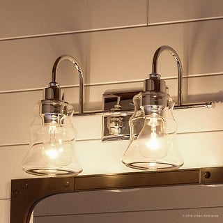 """Link to Luxury Vintage Bathroom Vanity Light, 9.25""""H x 15.375""""W, with Americana Style, Polished Chrome Finish by Urban Ambiance Similar Items in Bathroom Vanity Lights"""