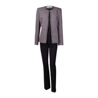 Tahari Women's Rob NYC Glamour Beaded Woven Pant Suit - Black/White - 10