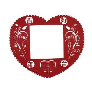 Unique Bargains Chinese Wedding Paper Cutting Heart Design Light Switch Cover Wall Ornament Red