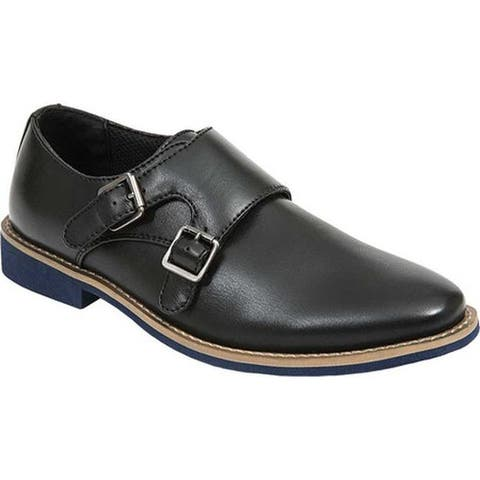 Deer Stags Boys' Harry Monkstrap Black Simulated Leather