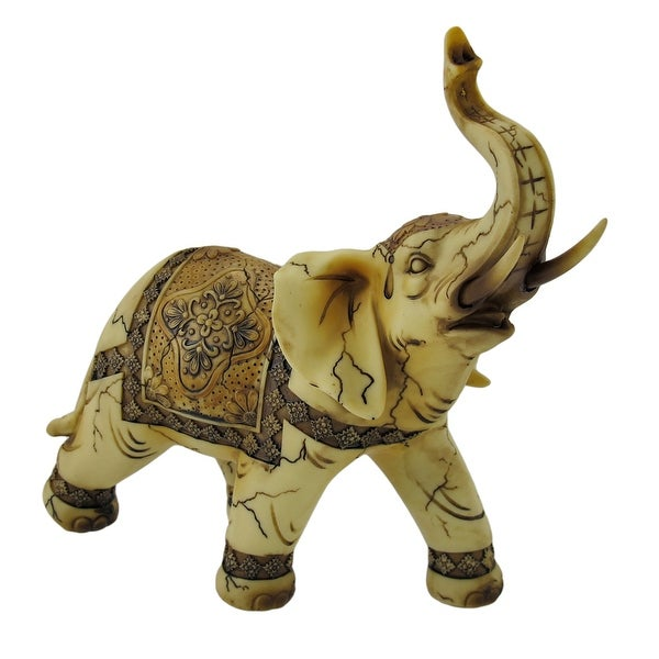 Antique Ivory Look Decorative Elephant Statue - 7.75 X 8 X 3.25 inches
