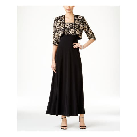 R&M RICHARDS Womens Black Floral Bolero Jacket Size 6