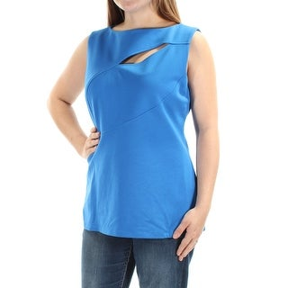 ANNE KLEIN $89 Womens New 1043 Blue Cut Out Boat Neck Sleeveless Top 10 B+B