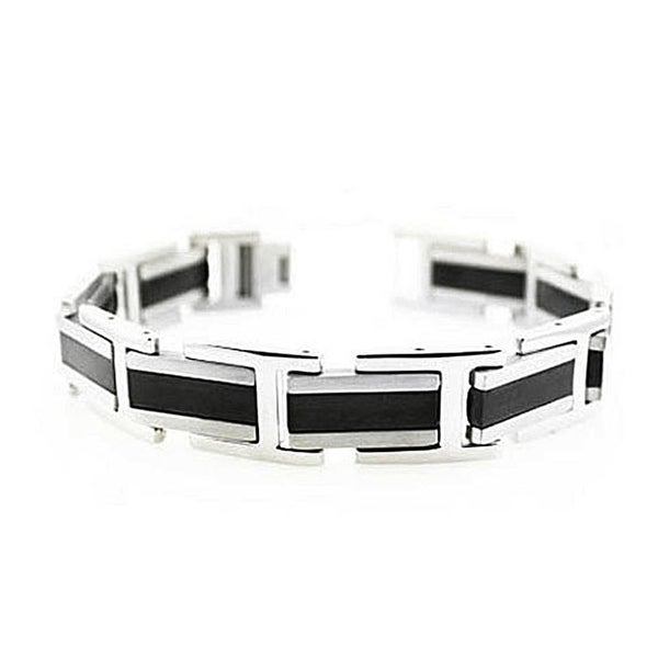Two-Tone Men's Stainless Steel Bracelet - 8.5 inches