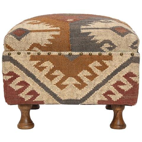 Handmade Kilim Upholstered Footstool (India)