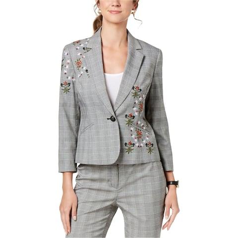 Nine West Womens Embroidered One Button Blazer Jacket