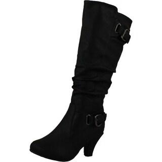 Top Moda Womens Bag-55 Knee High Buckle Slouched Kitten Heel Boots