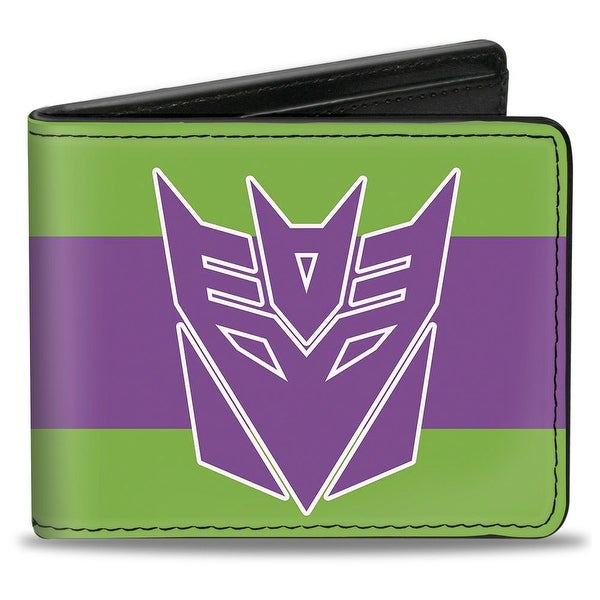 Decepticon Logo Stripe Green Purple White Bi Fold Wallet - One Size Fits most